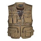 Ziker Men's Mesh Breathable Openwork Camouflage Journalist Photographer Fishing Vest Waistcoat Jacket Coat (Khaki, Large)