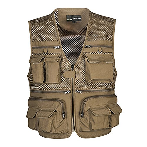 Ziker Men's Mesh Breathable Openwork Camouflage Journalist Photographer Fishing Vest Waistcoat Jacket Coat (Khaki, Small)