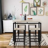 GLCHQ 5 Piece Pub Table Set, Dining Height Table Perfect for bar, Kitchen, Breakfast Nook, Dining Room, Living Room Casual Occasions (Beige)