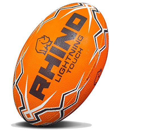 RHINO RUGBY Lightning Touch Rugby Ball | Orange | Size 4 | Light Weight | Professional Grade Ball
