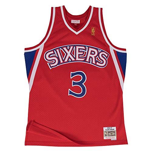 Mitchell&Ness M&N Maglia retrò da Uomo Swingman NBA con Adesivo da 7kmh Philadelphia 76ers - Allen Iverson XL
