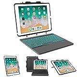 Coque pour clavier iPad 9.7, clavier amovible avec coque rigide, compatible avec iPad 9.7, 6e génération, iPad 9.7, iPad Air 2, iPad Air 1, noir