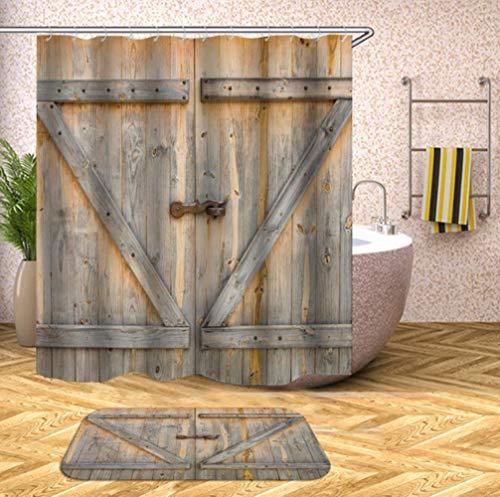 TTYAC Cortinas de ducha de madera 3D impermeable de tela cortinas de ducha con ganchos cortina de baño divertida cortina de baño o estera