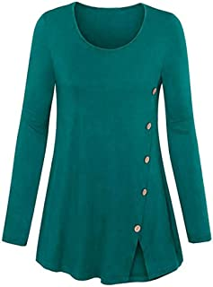 VESNIBA Women's Long Sleeve Solid O-Neck Forking Blouse Pullover Tops Shirt