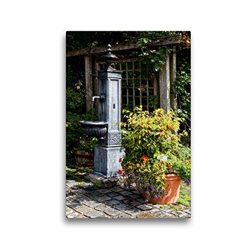 CALVENDO Premium Textil-Leinwand 30 x 45 cm Hoch-Format Alter Brunnen im Botanischen Garten, Augsburg, Deutschland, Leinwanddruck von Martina Cross