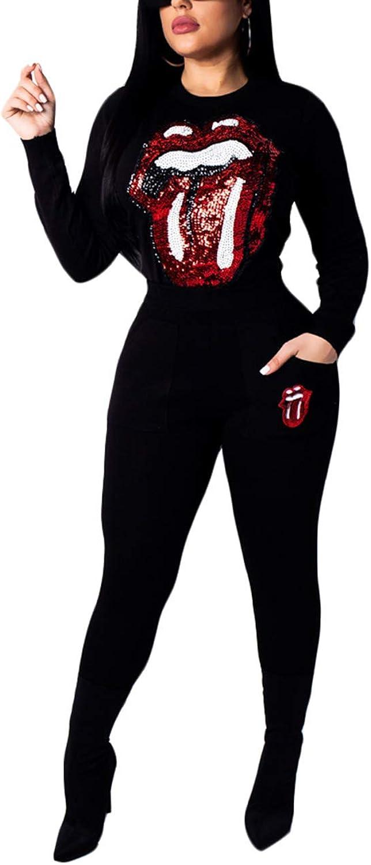 Akmipoem Women& 39;s Sequin Patchwork 2 Piece Outfit Long Sleeve Sweatshirt and Pants Tracksuit Set