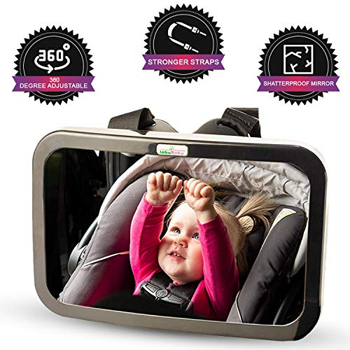 Baby Rear View Mirror for Rear Facing Infant Car Seat – Headrest Mount Shatterproof Non Slip Baby Mirror for Car for Backseat View – Child Safety Baby Essentials for Registry – Bonus Cleaning Cloth