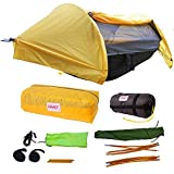 Camping Hammock Tent - Yellow w/ Underquilt - Parachute Nylon - Portable, 1 Person Compact Backpacking - Outdoor & Emergency Gear - Tree Straps, Tie Ropes, Mosquito Net, Rain Fly