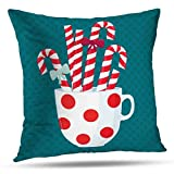 shotngwu Stripes Decorative Throw Funda de Almohada Cover, Red and White Striped Candy Stripe Diagonal Christmas Cushion Cover for Bedroom Sofa Living Room 18X18 Inches