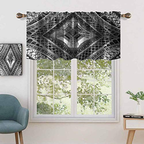 Rod Pocket Valance Blackout Curtain Eiffel Tower View From Below Paris City French Monument, Set of 2, 54'x36' for Bedroom Living Room