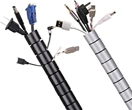 120 Inch Cable Sleeve,Cable Management 2 Pack Flexible Cord Bundler Wire Wrap for TV PC Office and Home