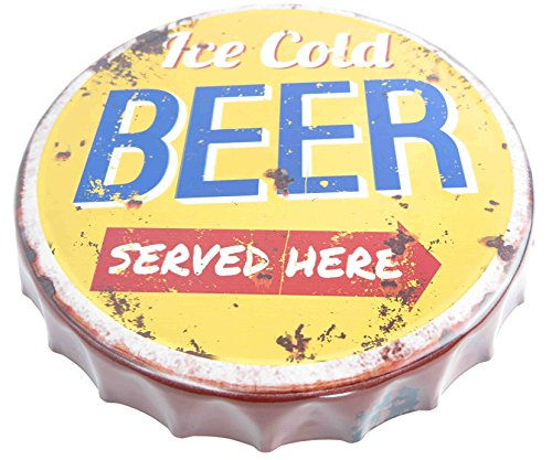 Targa in metallo con tappo a corona, misura XXL, tappo a corona, chiusura a corona Ice Cold Beer Served here Nostalgia, targa retrò per birra, bar, cantina, garage