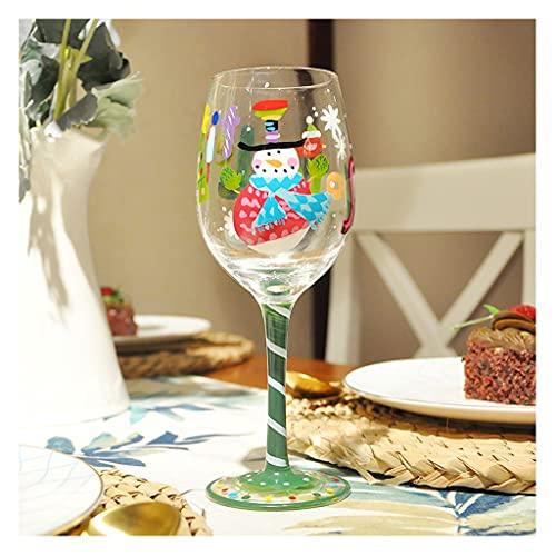 DEF Copas de Vino de Navidad Pintado a Mano Copa de Vino Tinto, Copa de Cristal para Banquete de Fiesta (Color : M-7)