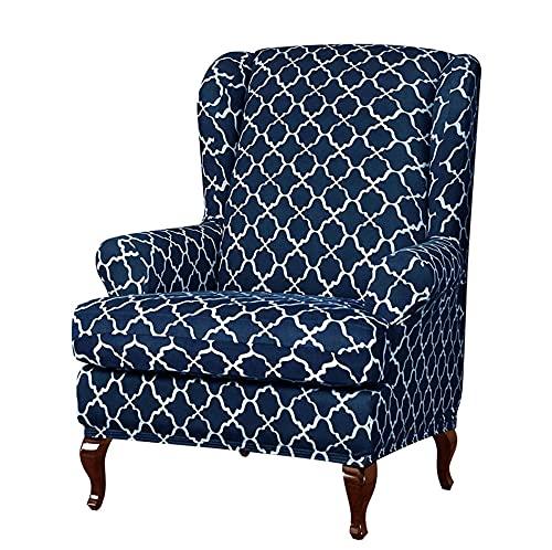Anoauit Fundas Elegantes para sillas de Orejas de Jacquard, Fundas para sillas con Respaldo de Orejas, Fundas para sillas de Spandex Desmontables, Protector elástico para Muebles-Azul Marino