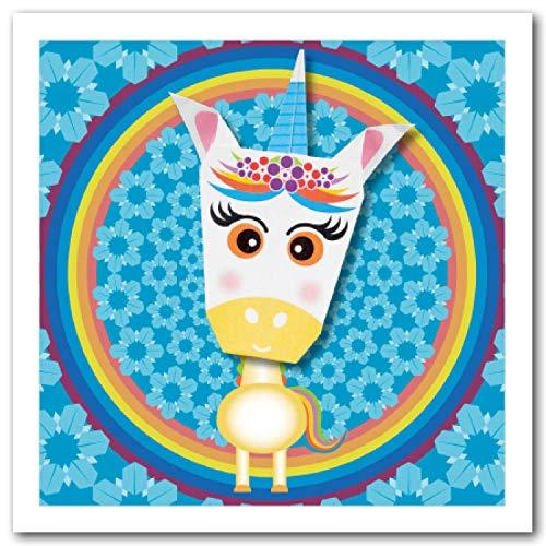 Tarjeta de origami, diseño de unicornio con cuerno azul, arco iris y flor, 150 mm, cuadrado