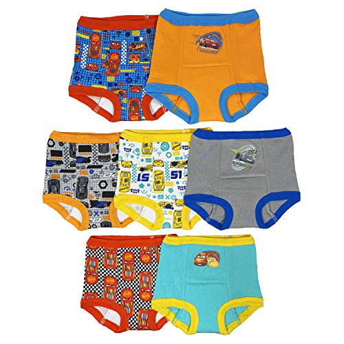Disney Boys' Toddler 7pk Potty Training Pant, Cars Assorted, 3T