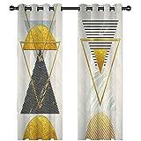 KnSam 2 Stücke Gardinen Aus Polyester 98% Licht Blockieren Verdunkelungsvorhang Dreieck Mit Ösen Ösenschal 274X274Cm Gold - 5