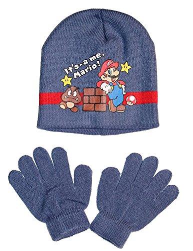 Super Mario Kinder Wintermütze und Handschuhe Set (Blau , 52 cm)