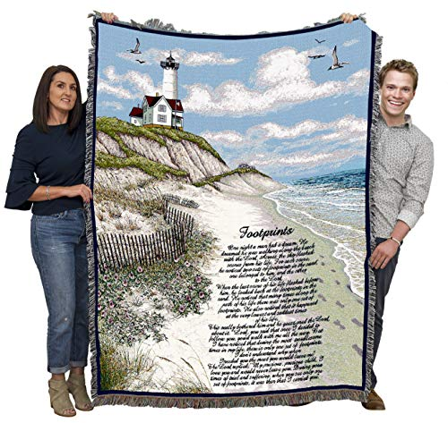 Pure Country Weavers Jesus Footprints in The Sand Blanket Throw Woven from Cotton - Made in The USA (72x54)
