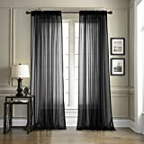 Dreaming Casa Solid Sheer Curtains Living Room Black Rod Pocket Voile Draperies...
