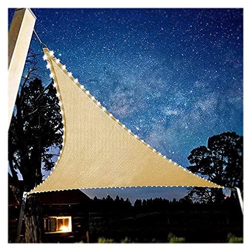 HEWYHAT Toldo con Iluminación LED, Triangular 95% De Protección UV, Transpirable Y Permeable, Velas Sol para Jardín Terraza Balcón Camping Al Aire Libre,3X3X3m