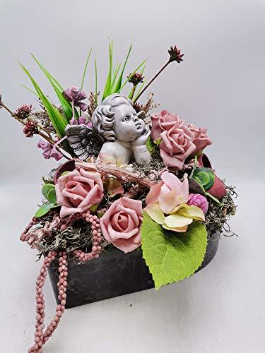 Trauergesteck Grabgesteck Grabschmuck Kunstblumengesteck Engel Rosen Gräser rosa