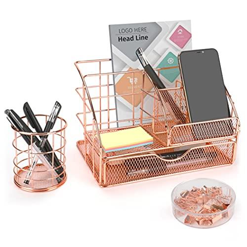 icyant - Organizador de escritorio de oro rosa, accesorios de escritorio de metal multiusos de malla con cajón / portalápices / clips de carpeta / clips de papel / alfileres, lindo papelería