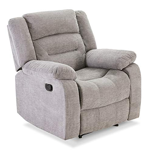 Harper&Bright Designs Manual Recliner Chair Lazy Boy Sofa, Ergonomic Design with Massage and Heat Function for Living Room or Bedroom, Grey