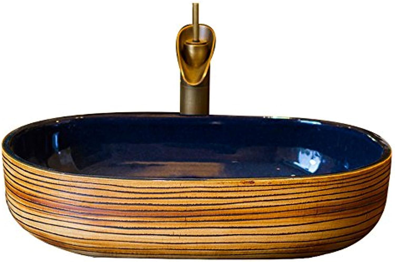 GAOLI über Zhler Basin Keramik Kunst Dunkelblau Art Basin Oval Vintage Waschbecken Waschbecken Waschbecken