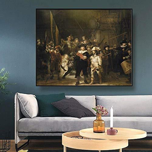 Canvaskunst schilderij 《De nachtwacht》 Rembrandt Poster Wall Decor Moderne huisdecoratie voor woonkamer Kantoor 70x56cm zonder lijst