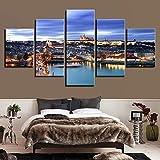 Pinturas en lienzo Arte de la pared 5 piezas Cartel del puente del castillo de Praga Impresiones HD Imágenes de la escena nocturna de la ciudad Decoración de la sala de estar + Pinturas en lienzo