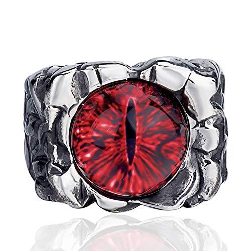ELFASIO Men Stainless Steel Rings Red The Devil Dragon Eye/Eyes of Hell Demon Gothic Biker Vintage Ring Size 10