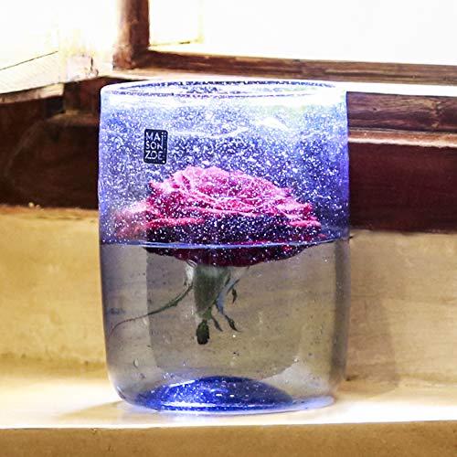 Maison Zoe Zylinder Glasvase aus Recycling-Glas Elena - Hellblau - blau - klein - Durchmesser ≈ 11cm Höhe ≈ 15cm - 100% Handmade - Blumenvase - Vase mundgeblasen - Dekovase - Tischvase