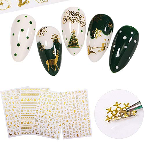 4 Sheets Christmas Nail Art Stickers 3D Gold Nail Decals Self-Adhesive Winter Xmas Tree Snowflake Bell Snowman Elk Nail Art Decorations for Christmas