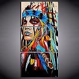 TOOGOO 3 piezas de arte de lienzo indio nativo americano con plumas Cuadro de pared de pintura para salon