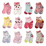 LAISOR 12 Pairs Assorted Non-Skid Ankle Cotton Socks with Grip...