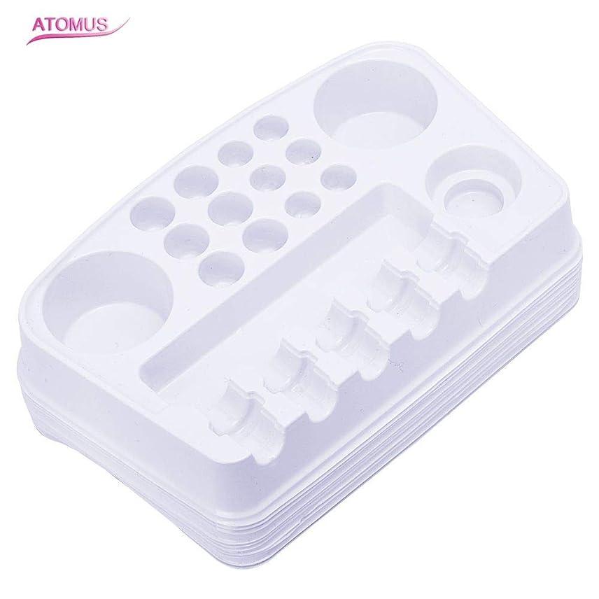 タトゥー インクカップ 機械 針 ホルダー 収納ラック, ATOMUS 10個 使い捨てプラスチック 顔料 カップホルダートレイプレート