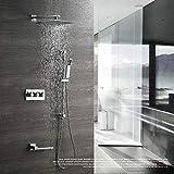 Jkckha ahorro de agua Temperatura constante Baño Ducha Conjunto de montaje en pared grifo de la ducha caliente fría Plaza agua de lluvia ducha de mano alcachofa de la ducha Head Set Sistema de ducha d