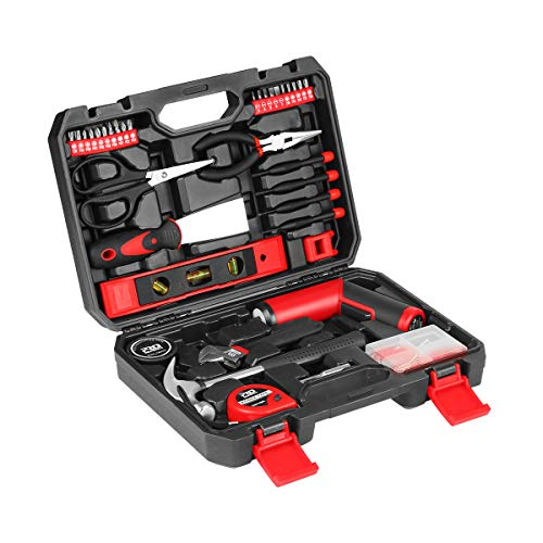 57-Piece Household Tool Kit with Rechargeable Palm-sized Electric Screwdriver 1500mAh Lithium-Ion with LED Light, 33-Piece Bit Set Free Accessories and USB Charging Cable