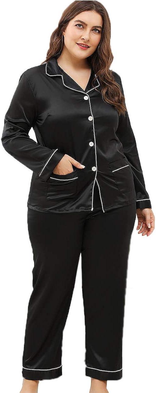 Milumia Women's Pajamas Set Long Sleeve Sleepwear Plus Binding Button Up Pajama Sets