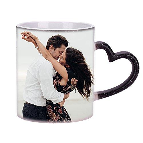 Tasse mit Wärmeeffekt Kaffeebecher Farbwechsel Becher Schwarz Kaffeetasse mit Thermoeffekt Teebecher Wärmeempfindliche Teetasse mit Löffel Benutzerdefinierte Farbwechseltasse für Geschenk Weihnachten