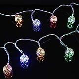 Solarenergie Außenlichterketten Plug-in, LED-Weihnachtsbeleuchtung mit Netzbetrieb, Girlandenkugel-Lichterketten für Weihnachtsbaum, Party, Garten, Pavillon, Rasen und mehr