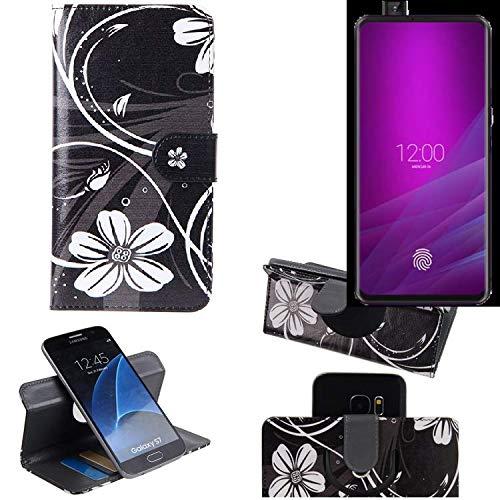 K-S-Trade® Schutzhülle Für Allview Soul X6 Xtreme Hülle 360° Wallet Case Schutz Hülle ''Flowers'' Smartphone Flip Cover Flipstyle Tasche Handyhülle Schwarz-weiß 1x