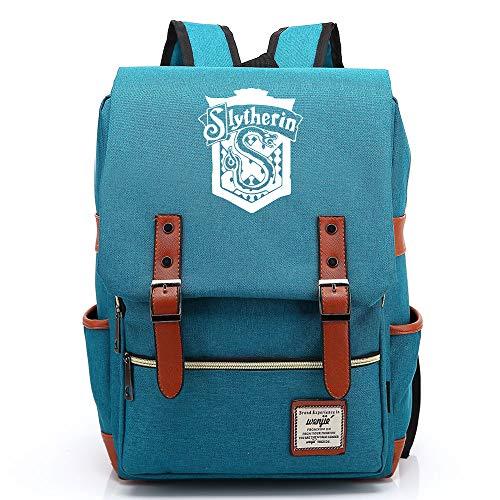 NYLY Unisex Adolescente Casual Retro Rucksack Hogwarts School Slytherin Academy Mochila Magic Book Bag Medio Ocean Blue C