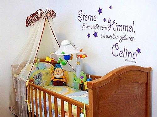 GRAZDesign Geschenke zur Geburt Spruch für Geburt - Wandsticker Kinderzimmer Junge/Mädchen Sterne Fallen Nicht vom Himmel - Wandtattoo Babyzimmer / 58x30cm / 822 Water Lilly