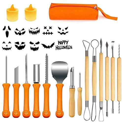 Halloween Kit di Intaglio della Zucca, 14 Pezzi Professionale Kit di Intaglio Zucca, Coltello da intaglio di zucca con 2 luci a LED a forma di zucca, 10 stampini