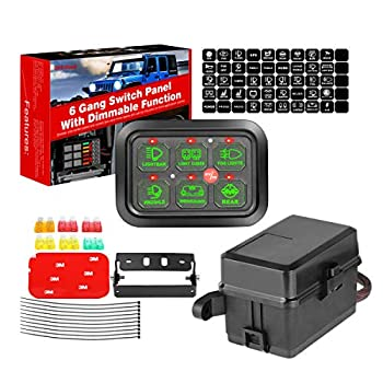 6 Gang Switch Panel Automatic Dimmable Swatow Industries Switch Pod Electronic Relay System Circuit Control Box Universal Touch Switch Box Power System for Truck ATV UTV Wrangler Car Boat Waterproof