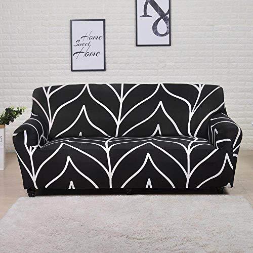 Funda de sofá elástica para Sala de Estar Funda de sofá seccional geométrica Funda de sofá de Esquina Impresa Fundas de sofá, Raya Negra, 3 plazas, 190,230 cm