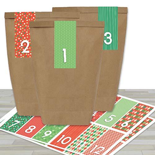 DIY Adventskalender zum Befüllen - mit 24 braunen Papiertüten und 24 rot-grünen Aufklebern - zum Selbermachen und Basteln - Mini Set Nr 35 - Weihnachten 2019 für Kinder
