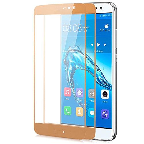 zanasta 2X Bildschirmschutz Folie kompatibel mit Huawei Nova Plus Schutzfolie aus gehärtetem Glas [Vollständige Abdeckung] Verb&glas (3D Full Cover/abger&et) 9H Kristallklar - Gold